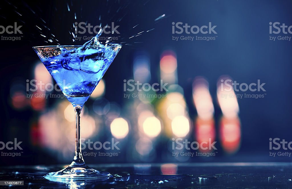 Blue curacao cocktail in a night club stock photo