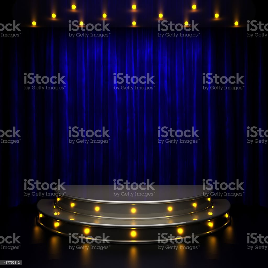 blue curtain stage with lights stock photo