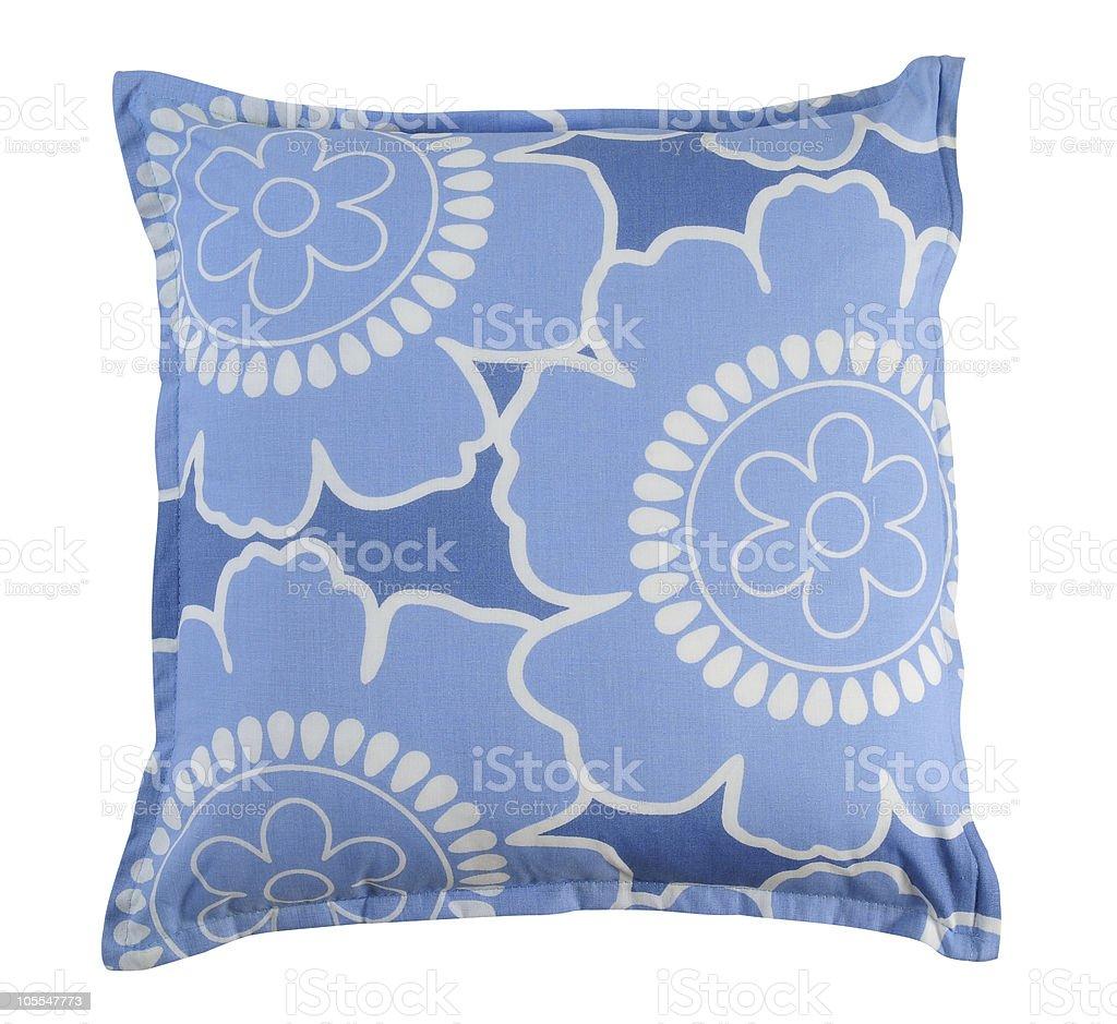 Blue cushion. Isolated. stock photo