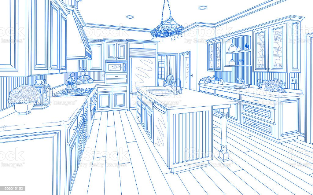 Blue Custom Kitchen Design Drawing on White stock photo