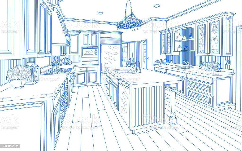 Blue Custom Kitchen Design Drawing on White stock photo