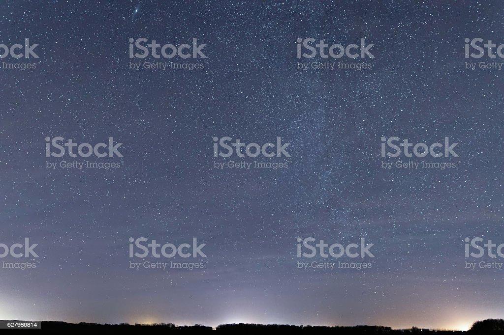 Blue dark night sky with many stars. Cassiopeia, Andromeda, Cepheus, stock photo