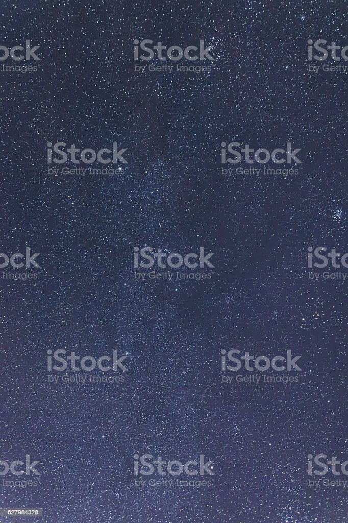 Blue dark night sky with many stars. Taurus, Perseus, Gemini stock photo