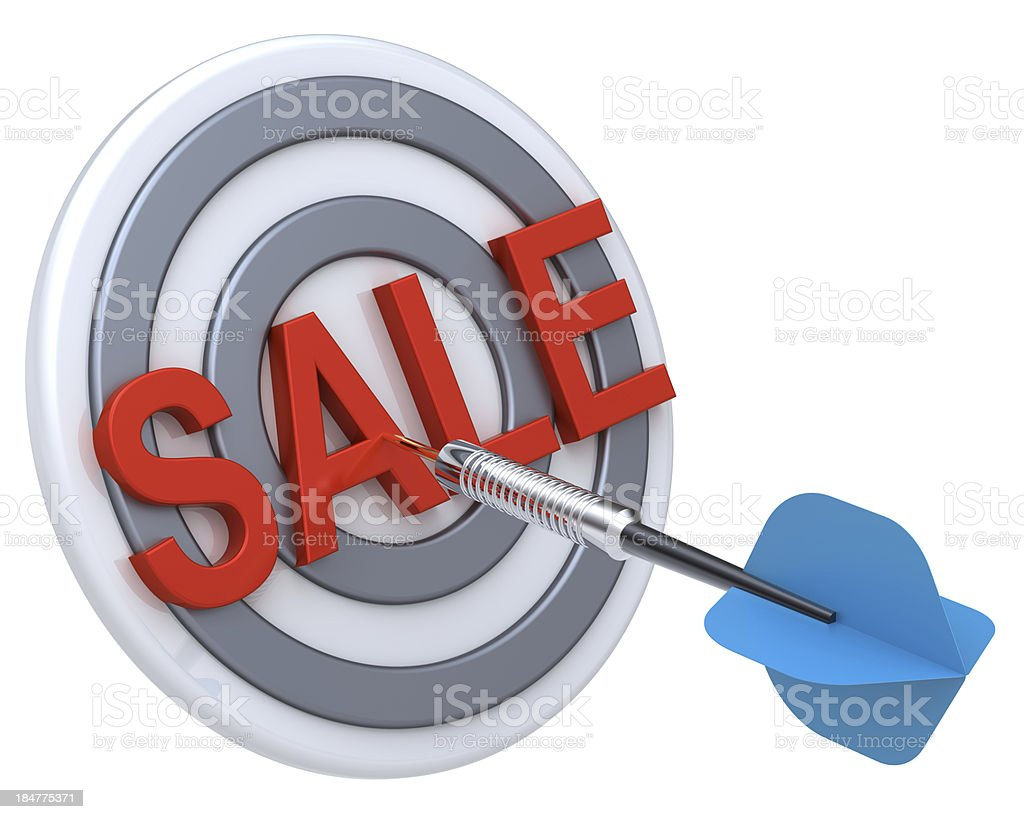 Blue dart hiting a target with text on it. royalty-free stock photo