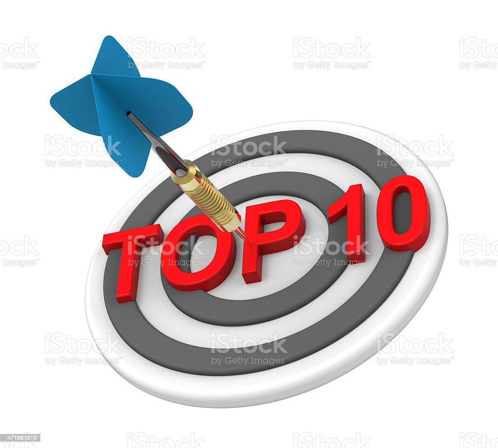 Blue dart hiting a target with text on it stock photo