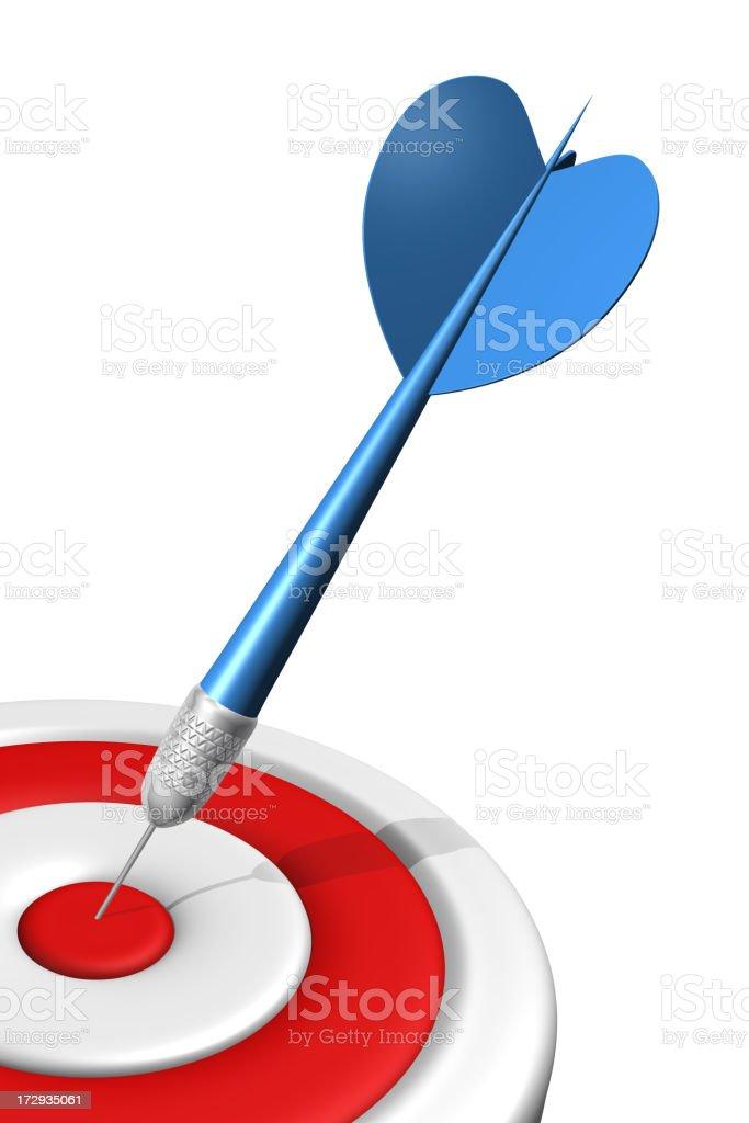 Blue dart hits center of target royalty-free stock photo