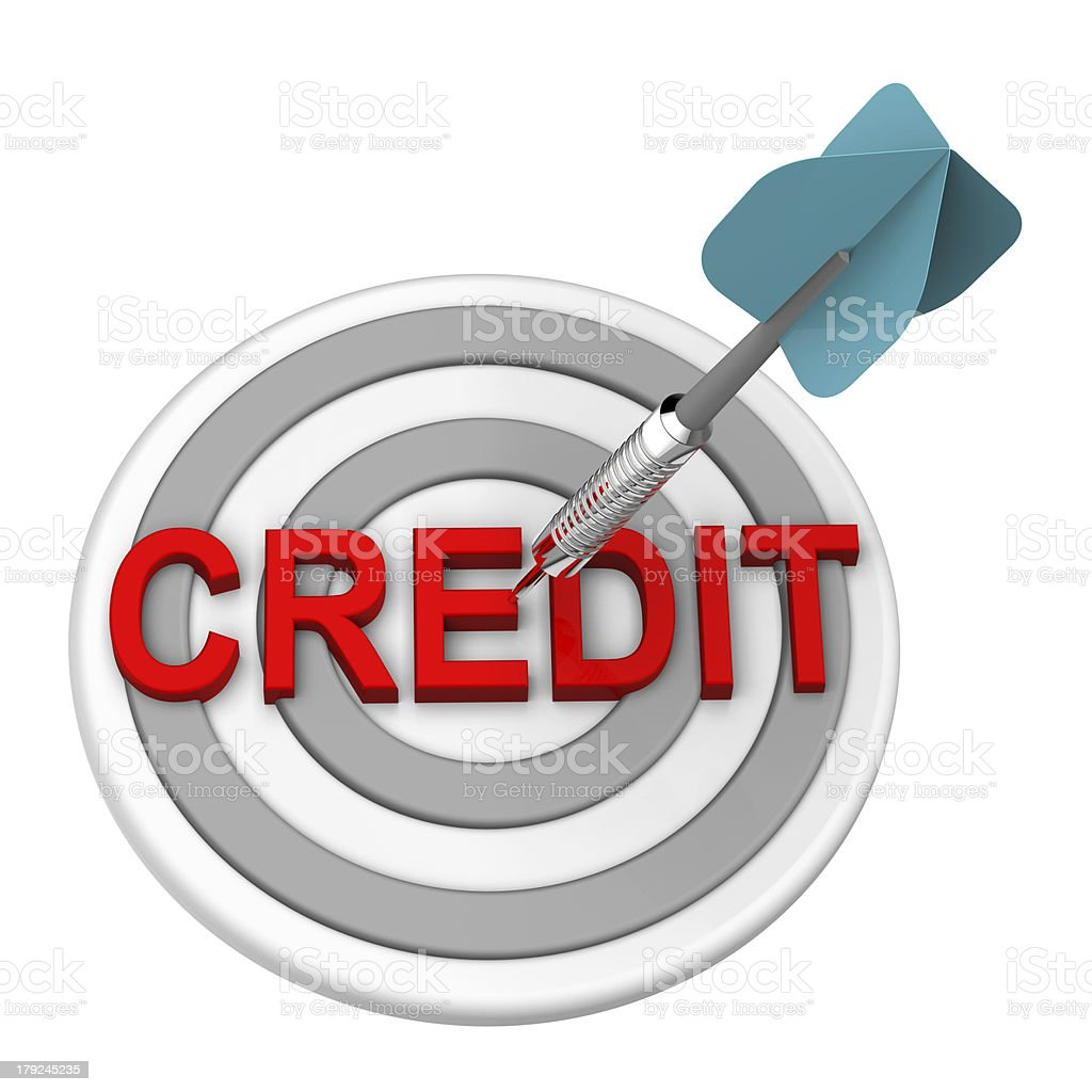 Blue dart hits the bullseye on a target showing credit text stock photo
