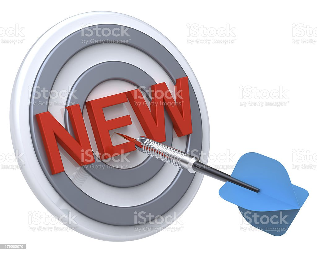 Blue dart on a target. royalty-free stock photo