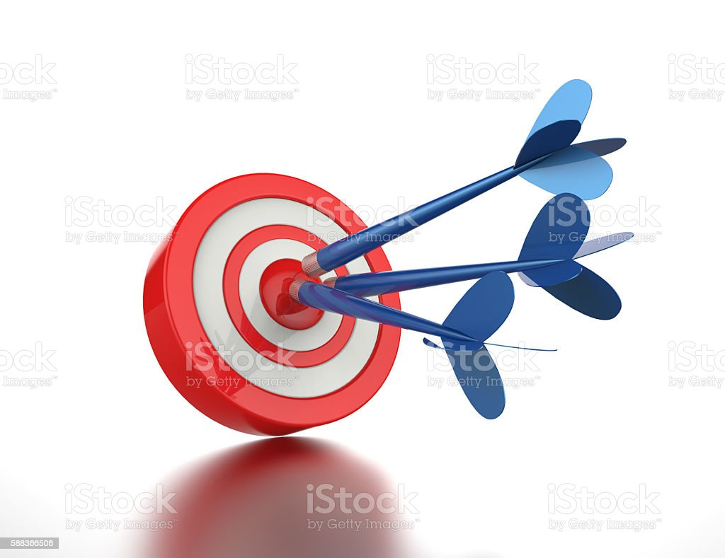 Blue darts hitting a target stock photo