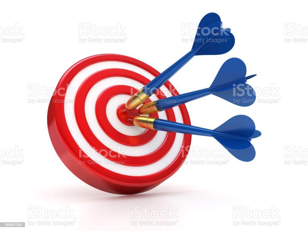 Blue darts hitting the success target stock photo