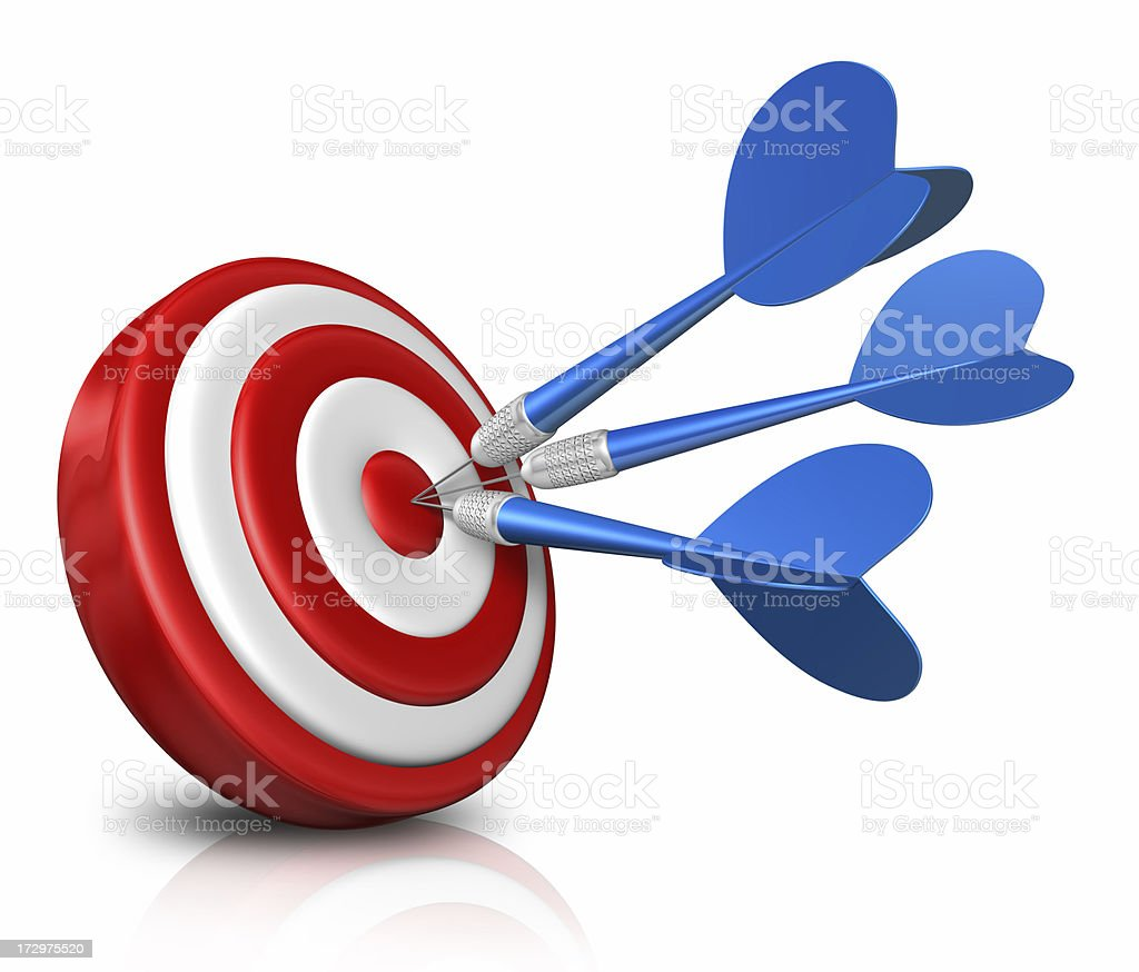 blue darts on red target stock photo
