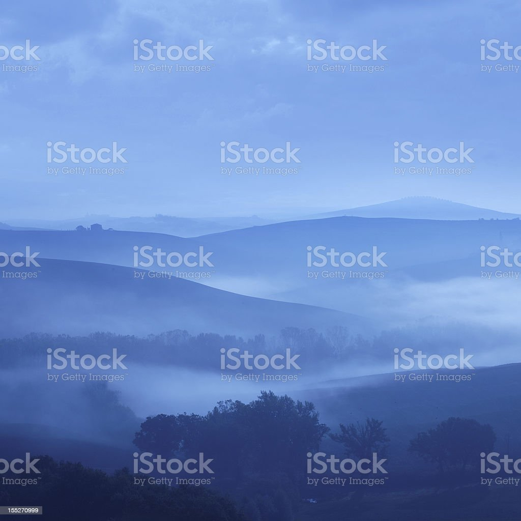 blue dawn in Tuscany royalty-free stock photo