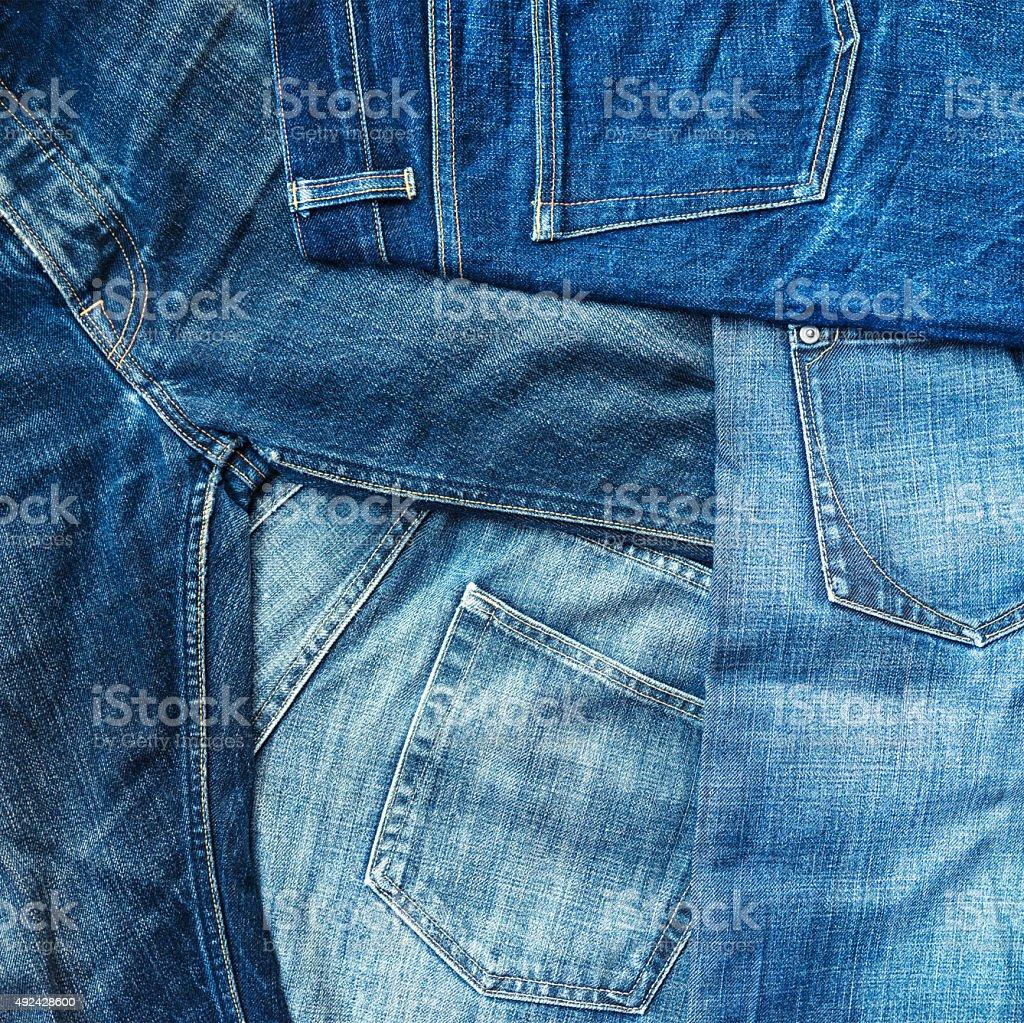 Blue denim jeans background stock photo