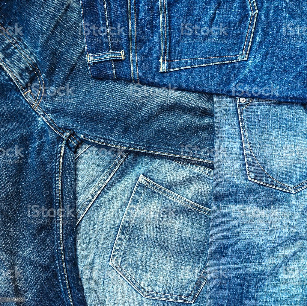 Blue denim jeans background stock photo