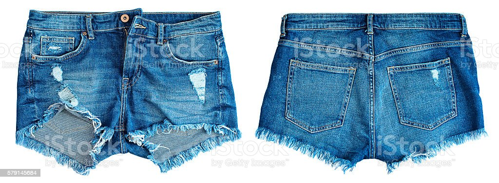 Blue denim shorts stock photo