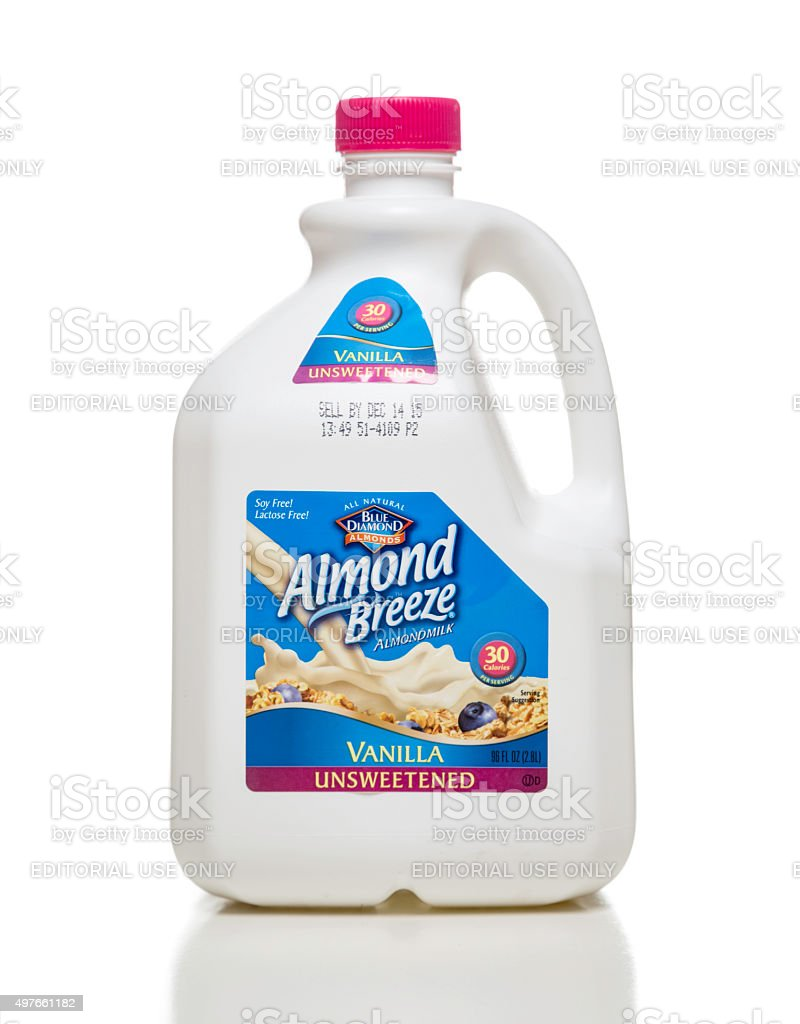 Blue Diamond Almond Breeze Vanilla Unsweetened milk jug stock photo