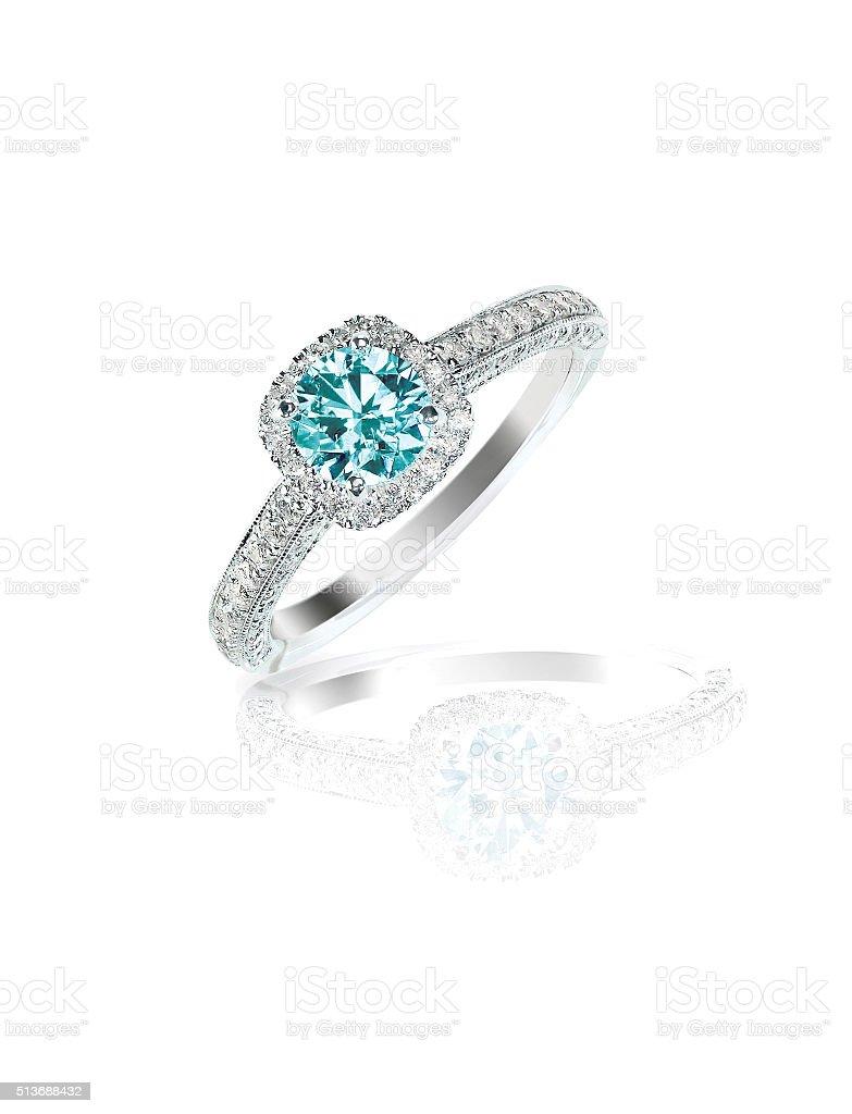 Blue Diamond engagement wedding ring stock photo