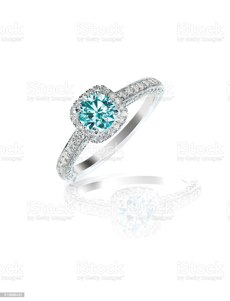 Blue Diamond engagement wedding ring stock photo