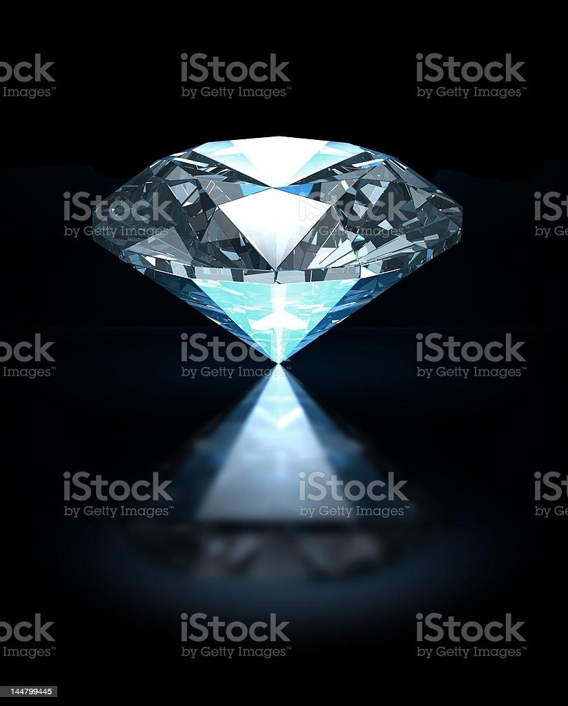 Blue diamond on black background royalty-free stock photo