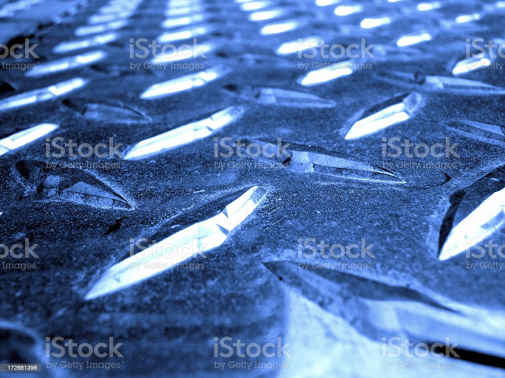 Blue diamond plate stock photo