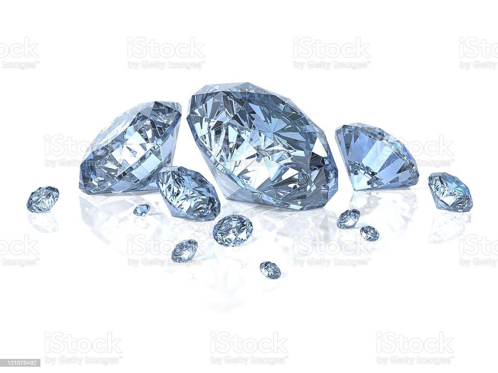 Blue Diamonds isolated on white royalty-free stock photo