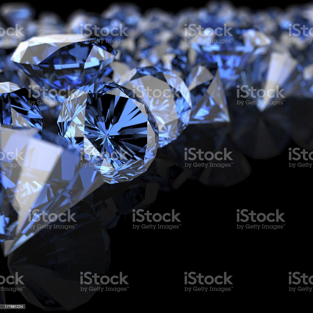 blue diamonds on black royalty-free stock photo