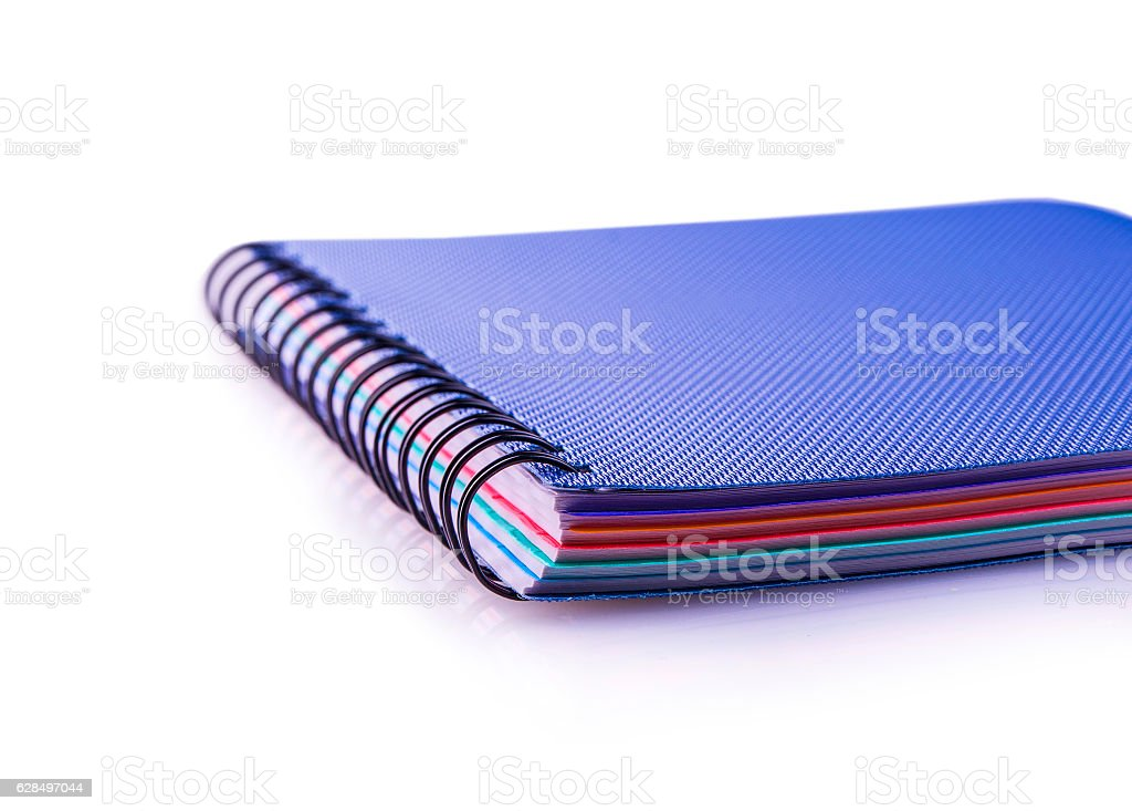 Blue  diary spiral notebook on white stock photo