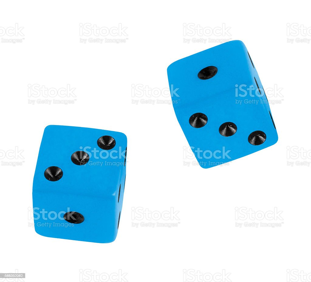 Blue dices stock photo