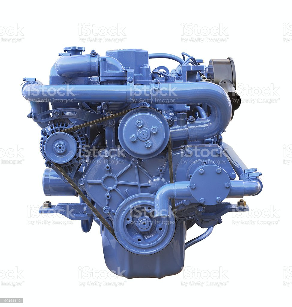 Blue Diesel engine isolated on a white background royalty-free stock photo