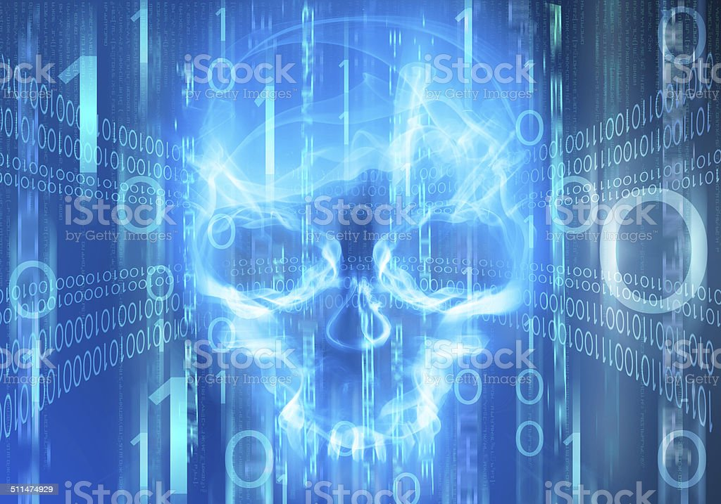 blue digital abstract background with skull stock photo