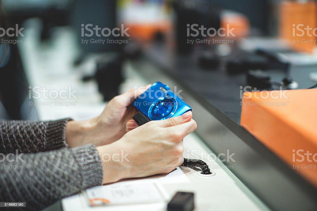 Blue digital camera stock photo