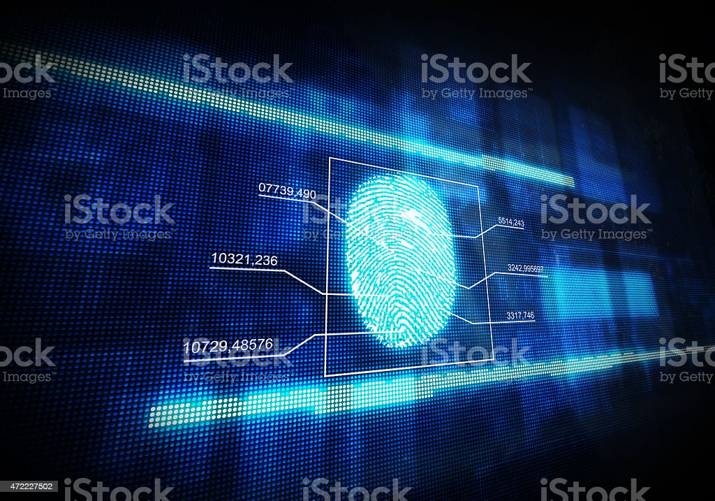 Blue digital fingerprint stock photo