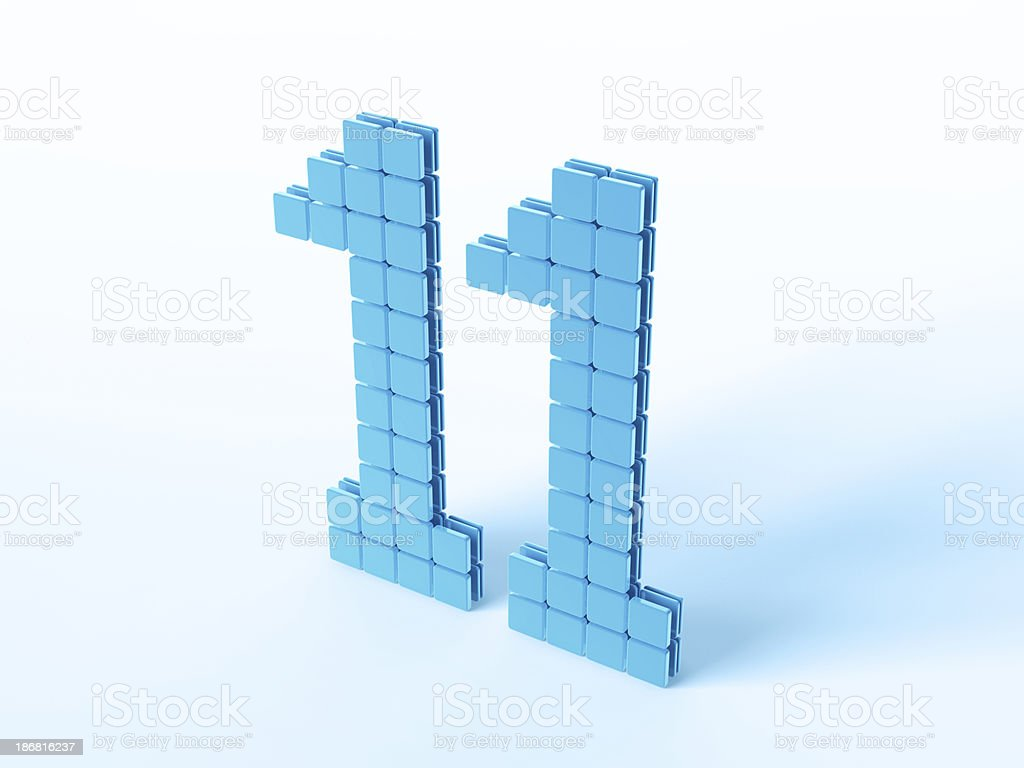 Blue Digital Number Eleven royalty-free stock photo