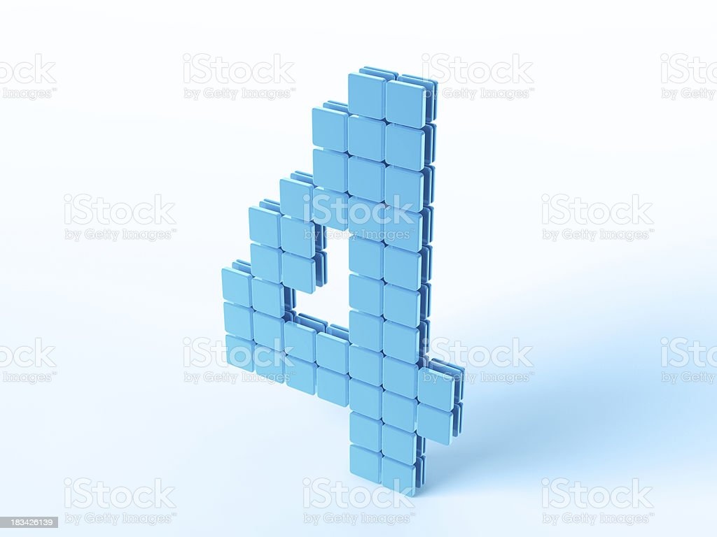 Blue Digital Number Four royalty-free stock photo