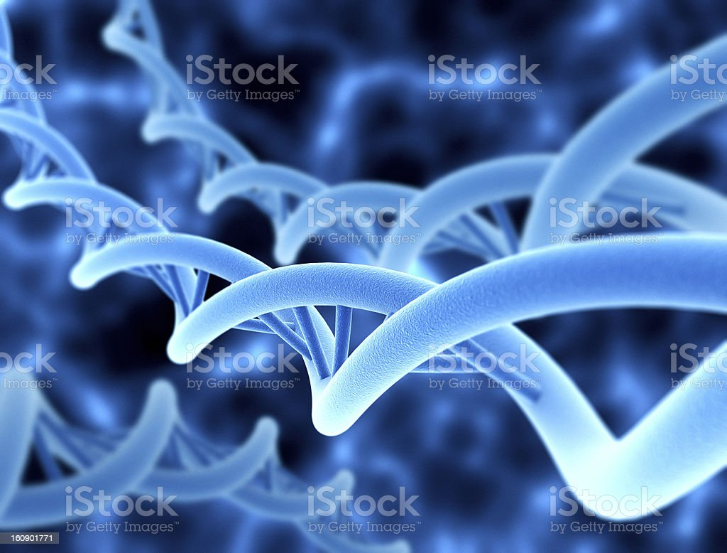 Blue digital representation of DNA strands stock photo