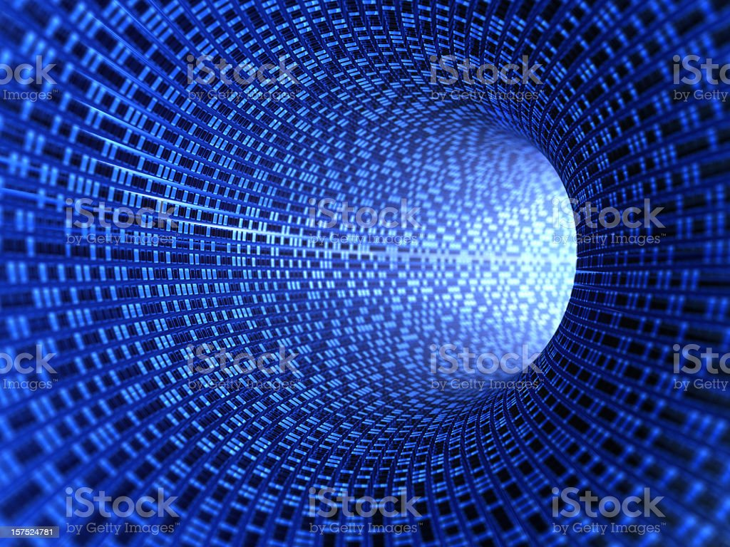 Blue digital tunnel with light at the end royalty-free stock photo