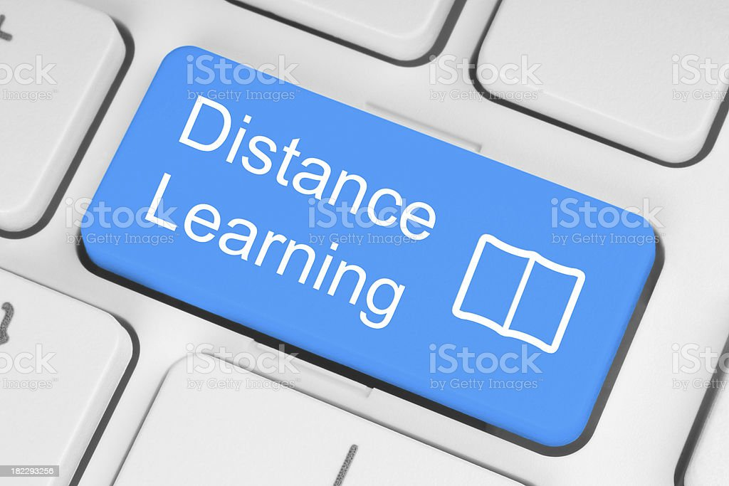 Blue distance learning button stock photo