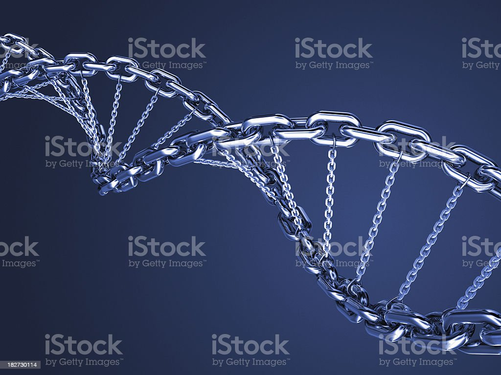 Blue DNA chain royalty-free stock photo