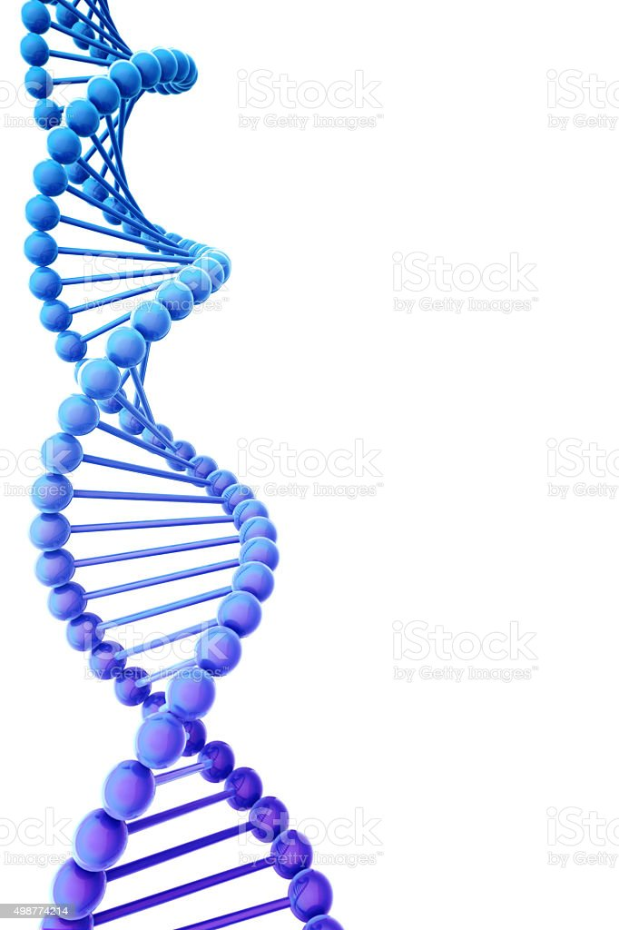 Blue DNA helix with copyspace stock photo