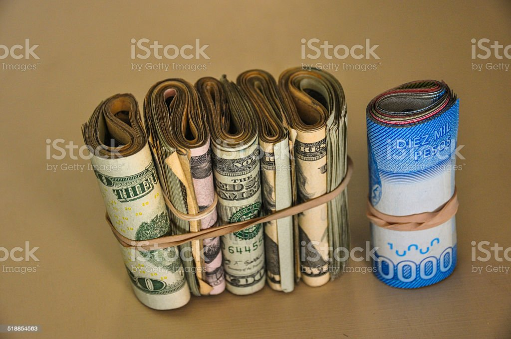 Blue dolar, US Dollar, Chilean Pesos, Argentina stock photo