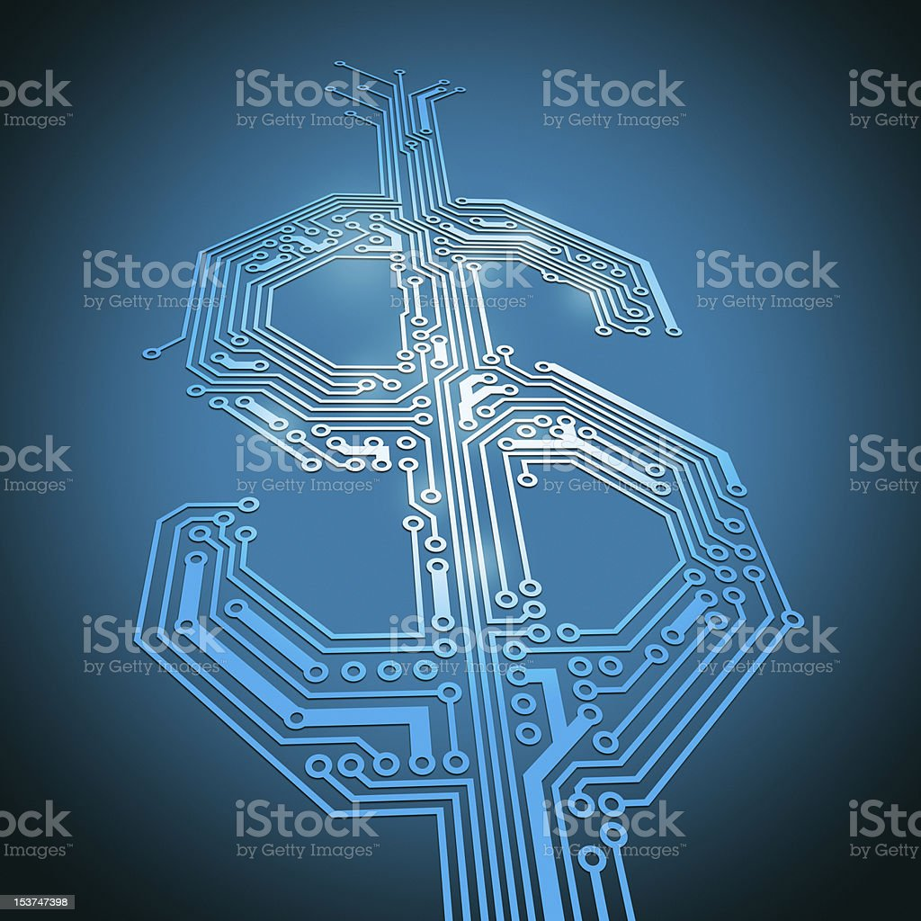 Blue Dollar sign with circuits depicting E-commerce stock photo