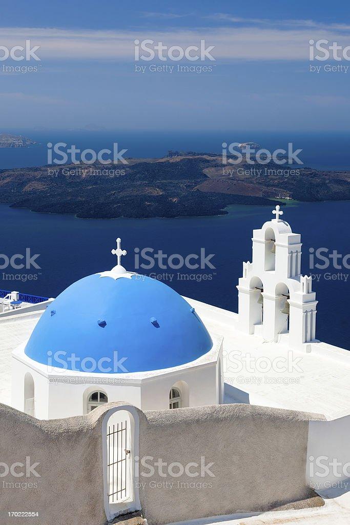 Blue Dome Église de Santorin, Grèce photo libre de droits