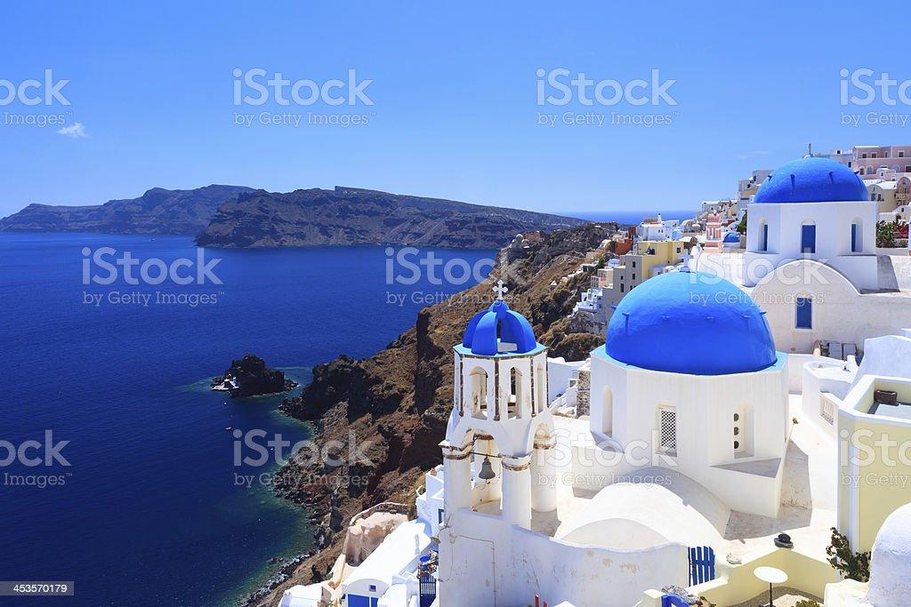 Blue Dome Churches Oia Santorini stock photo