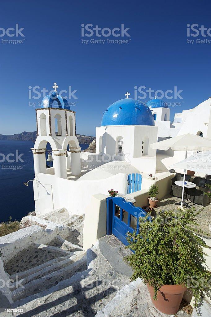 Blue Dome Greek Church Scene Oia Santorini royalty-free stock photo