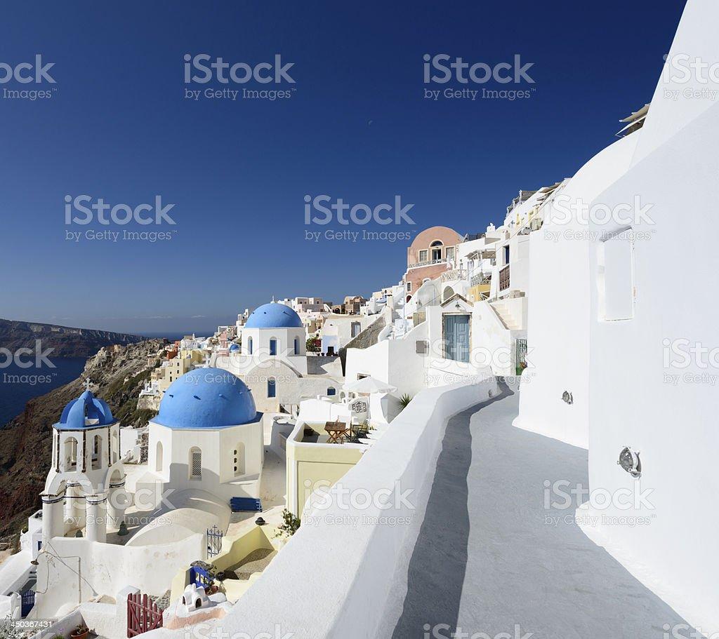 Blue Domed Church in Oia Village on Santorini Island Greece royalty-free stock photo