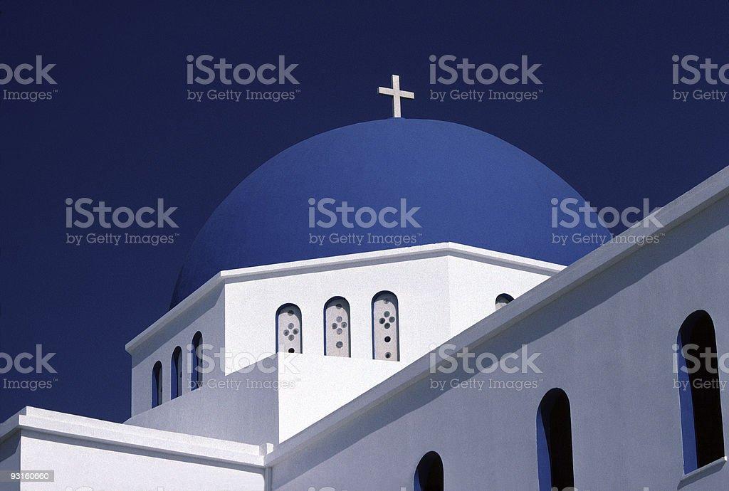 Blue Domed Church, Naxos, Greece stock photo
