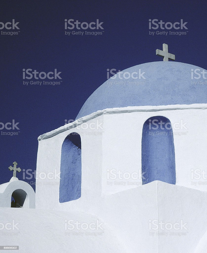 Blue Domed Church, Paros, Greece stock photo