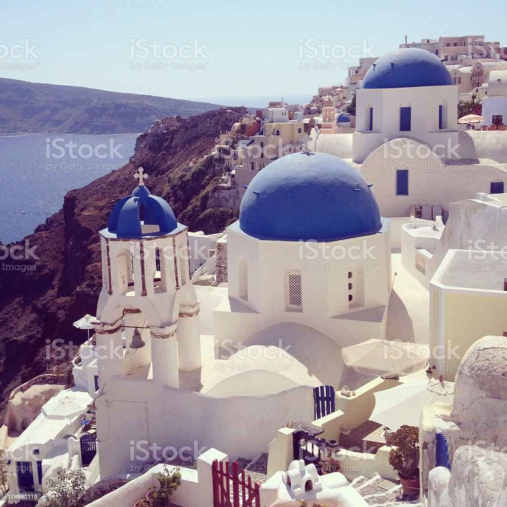 Blue domes of Oia in Santorini royalty-free stock photo