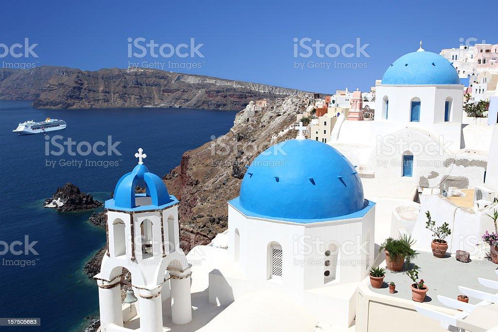 Blue Domes of Santorini royalty-free stock photo