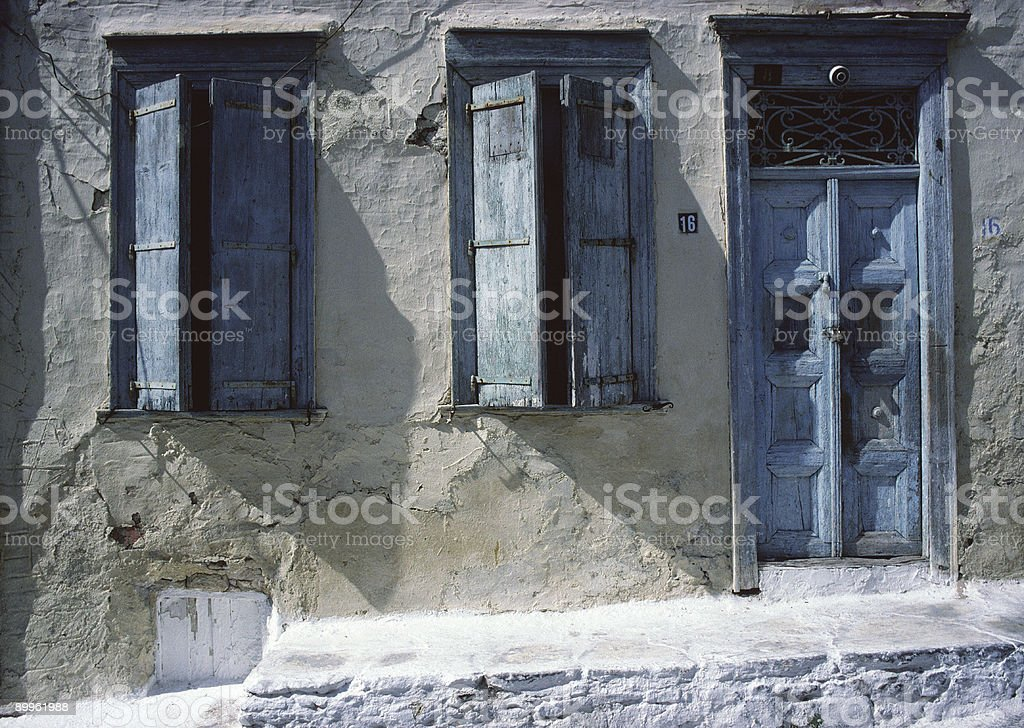 Blue Door and Windows, #16, Syros, Greece stock photo